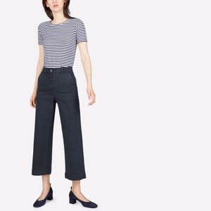 Everlane Wide Leg Crop Pant in navy size 6